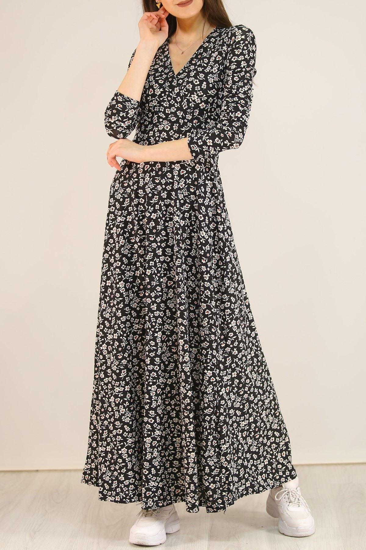 Çiçekli Elbise Siyah - 5070.716.