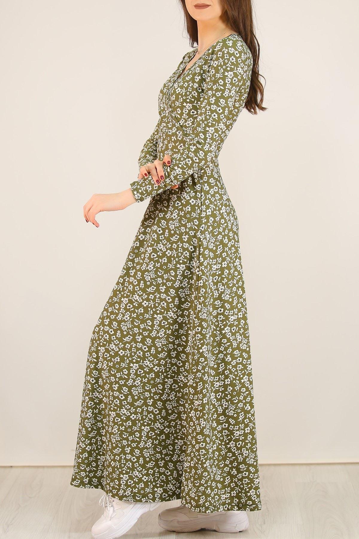 Çiçekli Elbise Haki - 5070.716.