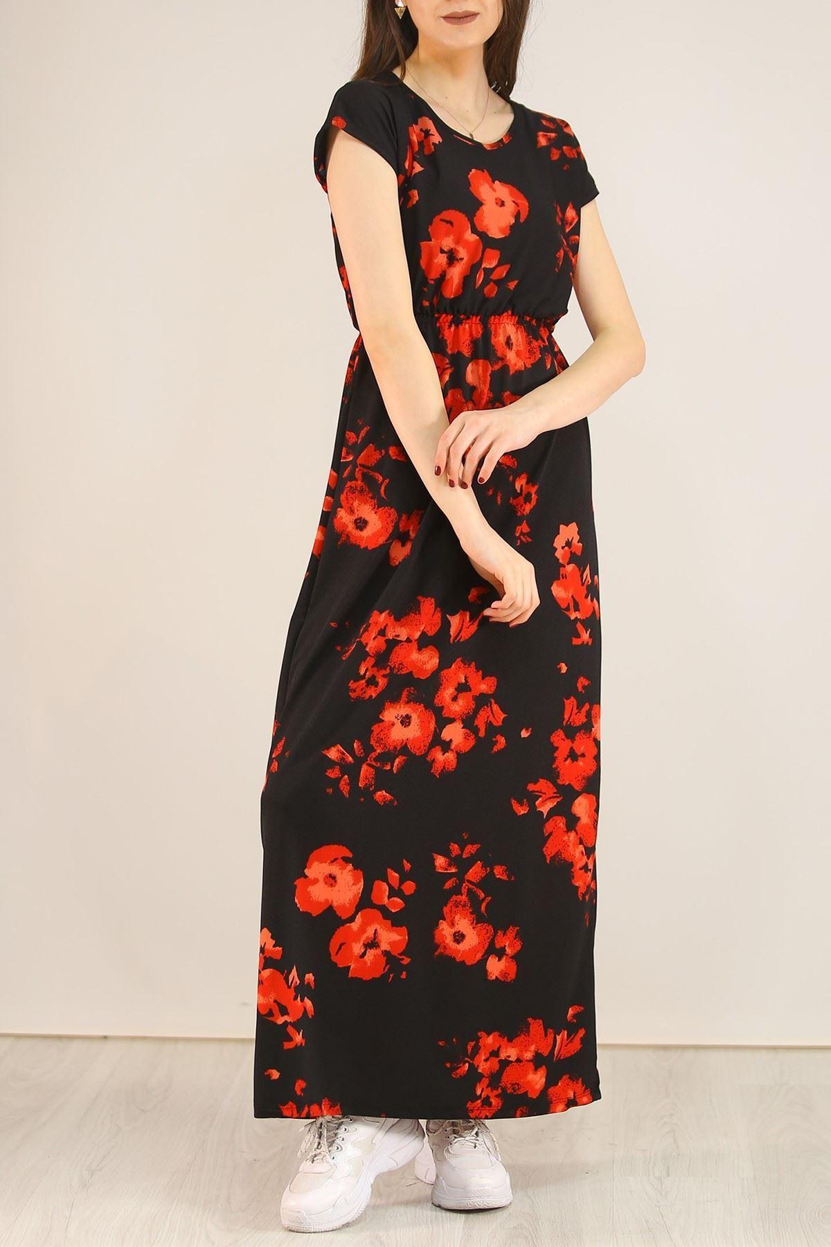 Desenli Elbise Siyahkırmızı - 5088.716.