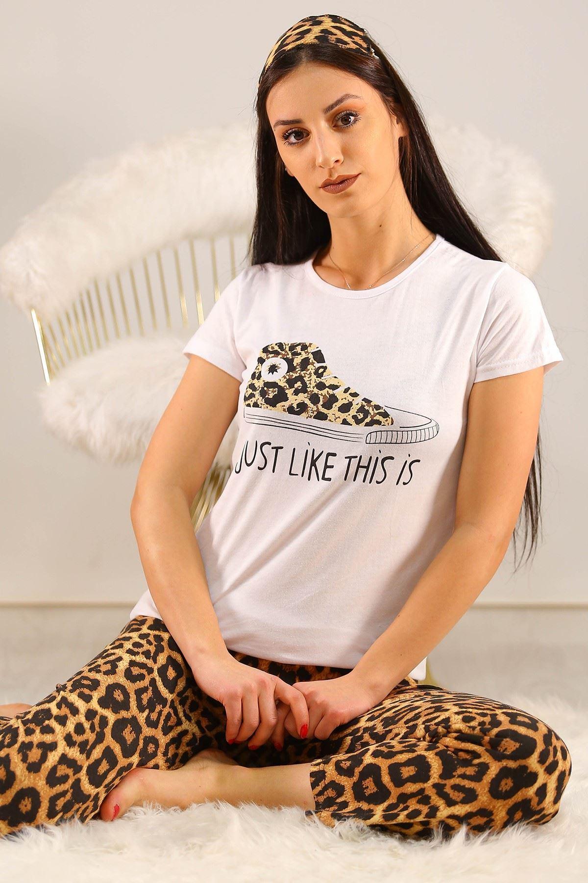 Baskılı Pijama Takımı Beyaz - 5134.102.
