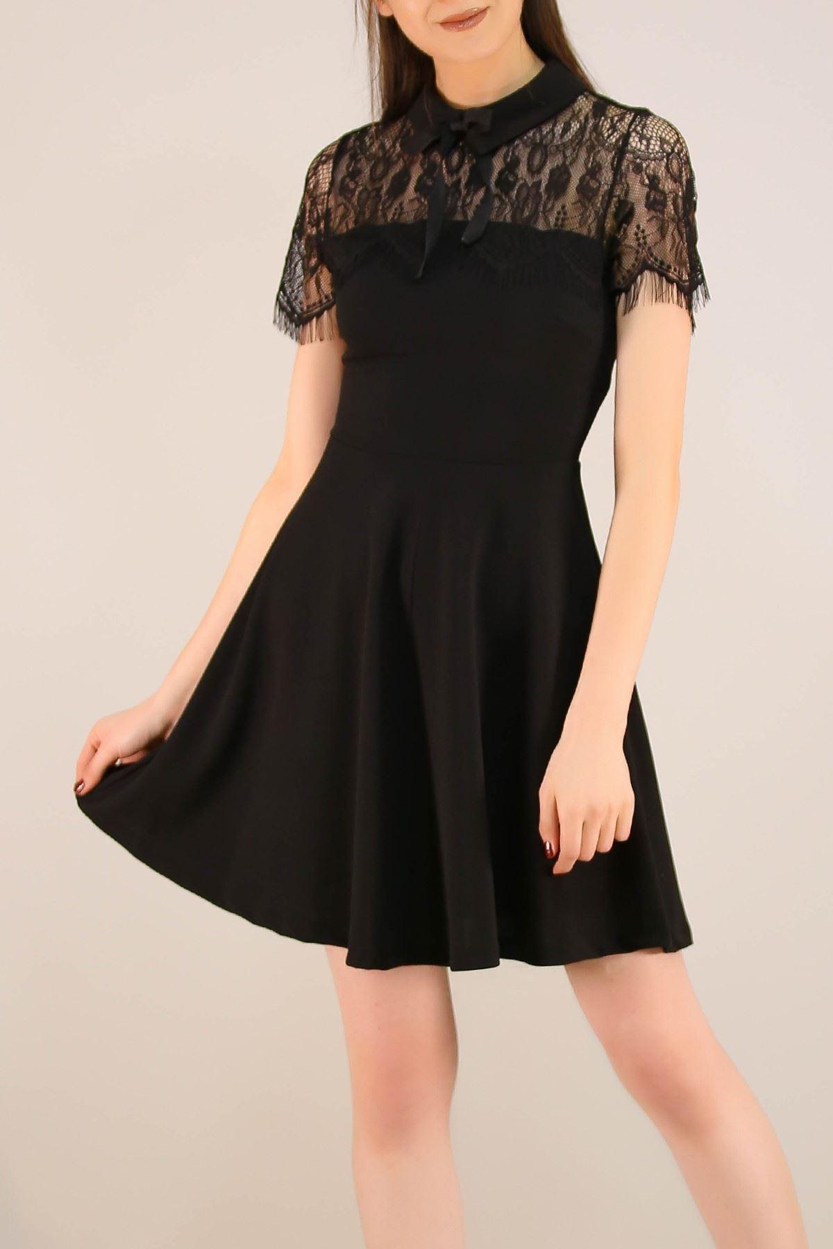Tül Detaylı Elbise Siyah - 16162.101.