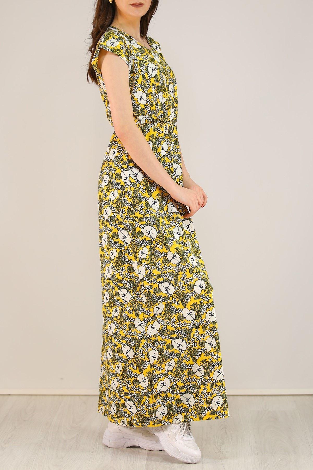 Desenli Elbise Sarı - 5088.716.