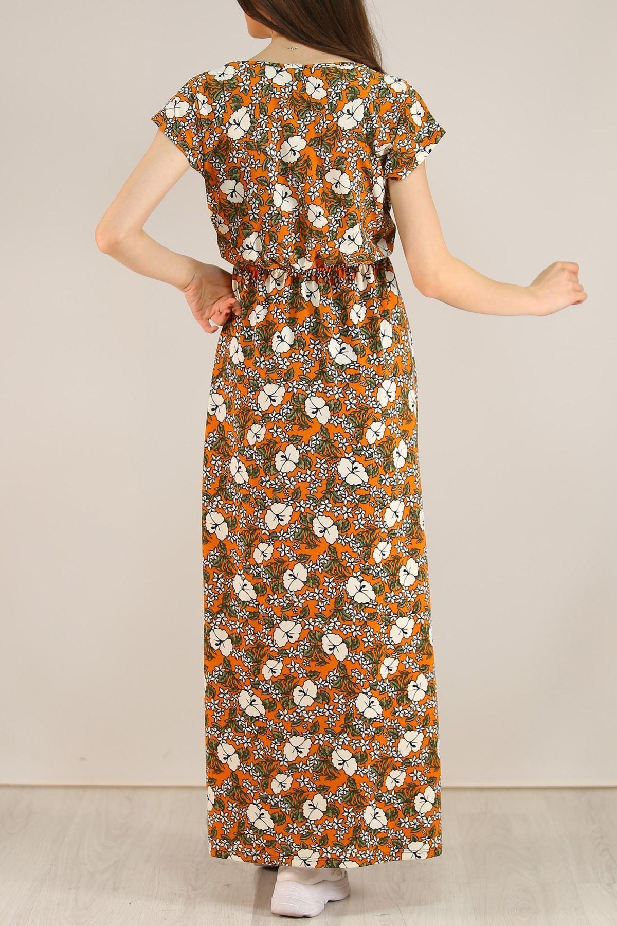Desenli Elbise Turuncu - 5088.716.