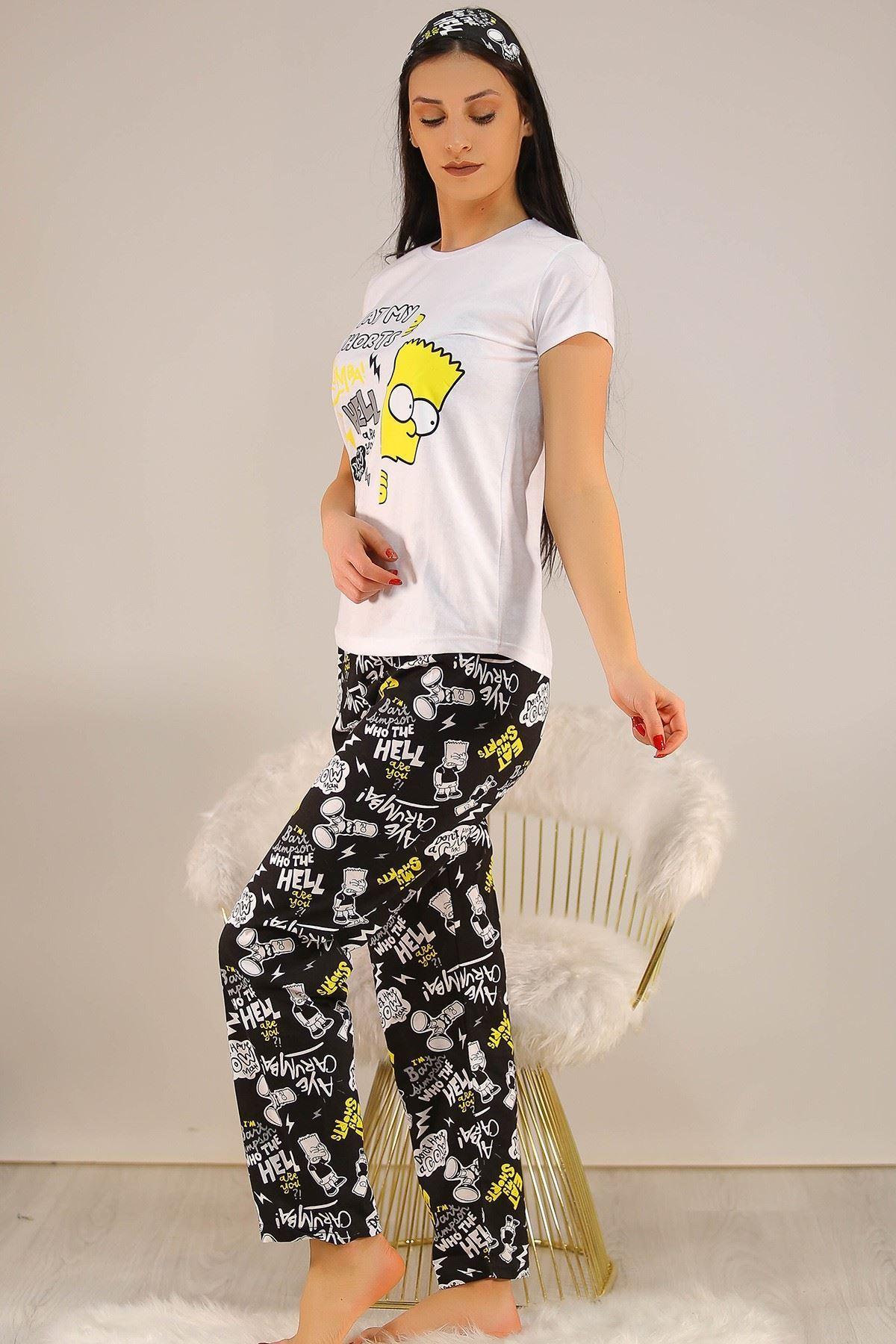 Baskılı Pijama Takımı Beyaz - 21503.1059.