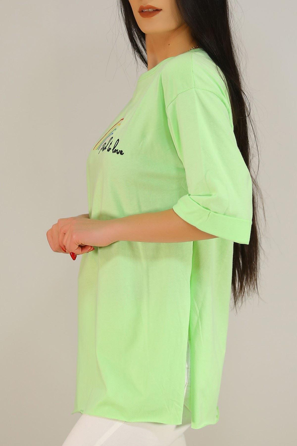 Nakışlı Duble Kol Tişört Yeşil - 5158.336.