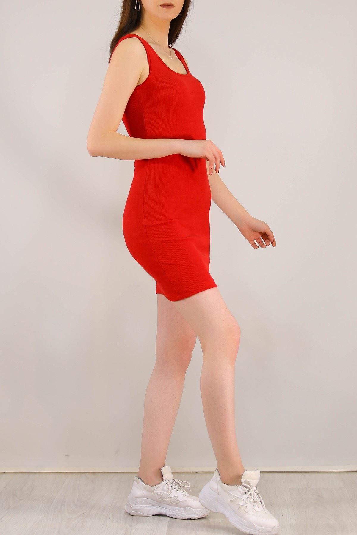 Kaşkorse Sıfır Kol Elbise Kırmızı - 5188.316.