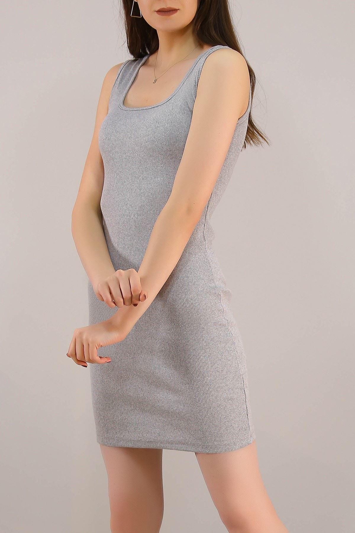 Kaşkorse Sıfır Kol Elbise Gri - 5188.316.