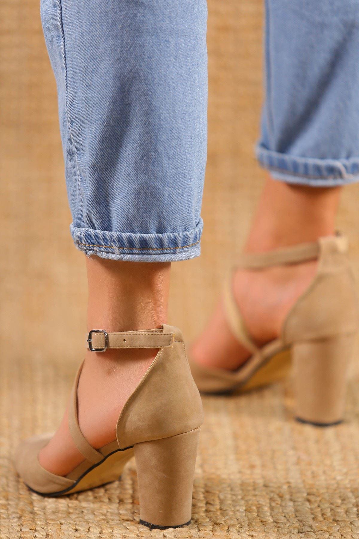 7 Cm Topuklu Ayakkabı Süetbej - 5179.264.