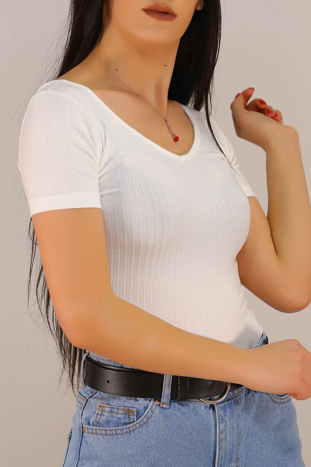 Ön Arka V Yaka Bluz Beyaz - 5185.316.