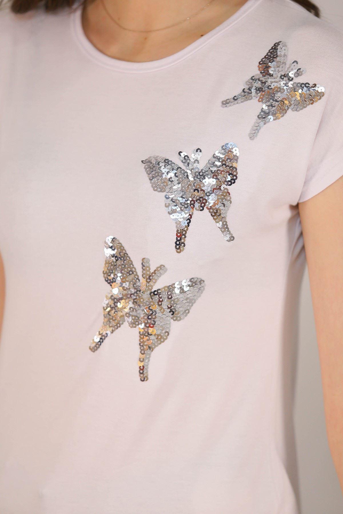 Pullu Kelebek Tişört Beyaz - 5032.139.