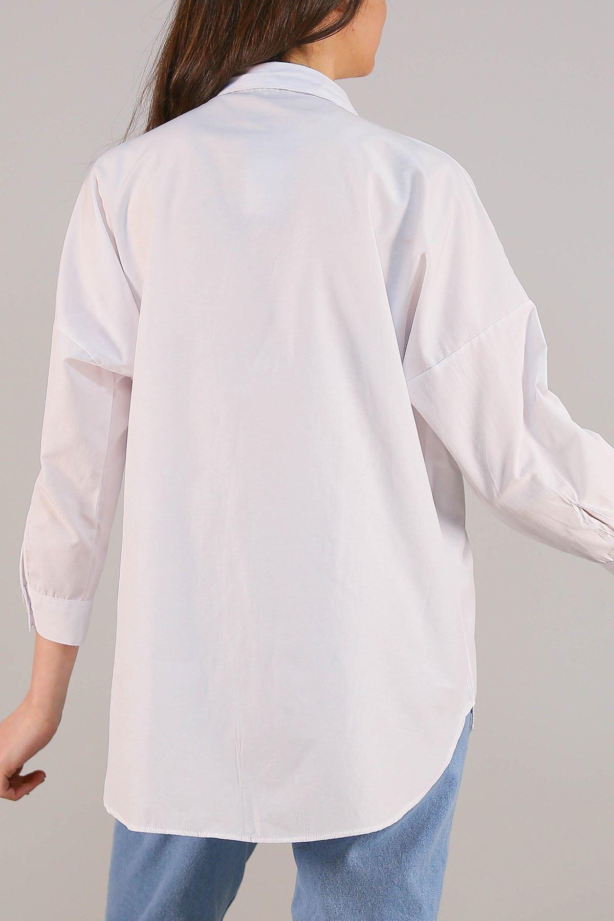 Fermuarlı Gömlek Beyaz - 2580.105.