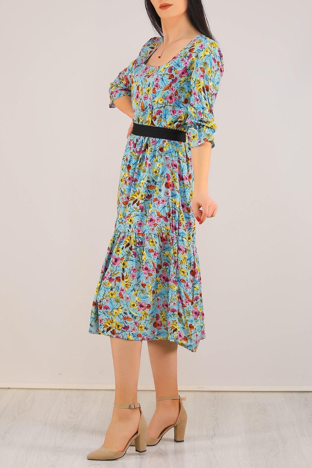 Çerceve Yaka Viskon Elbise Suyeşili - 5197.701.