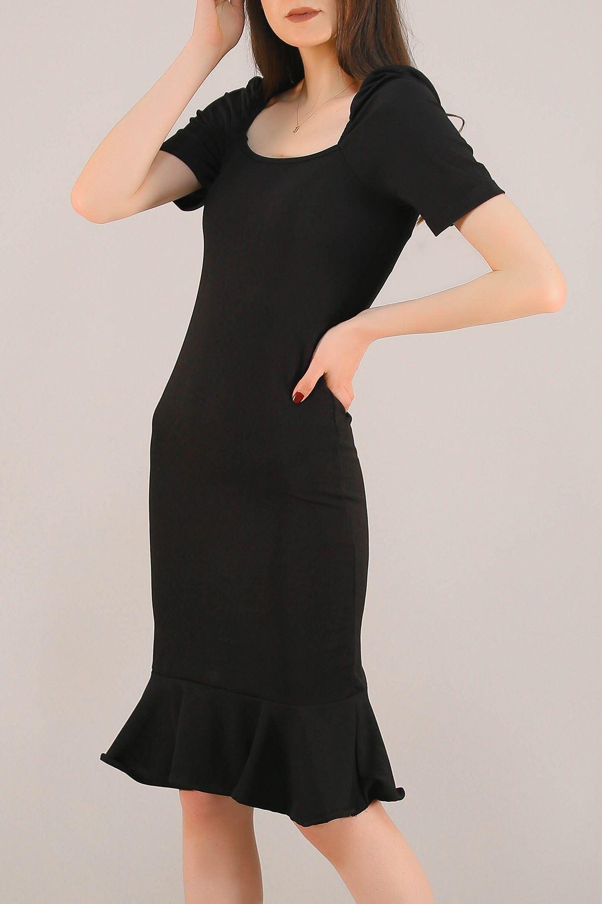 Prenses Kol Kaşkorse Elbise Siyah - 5198.994.