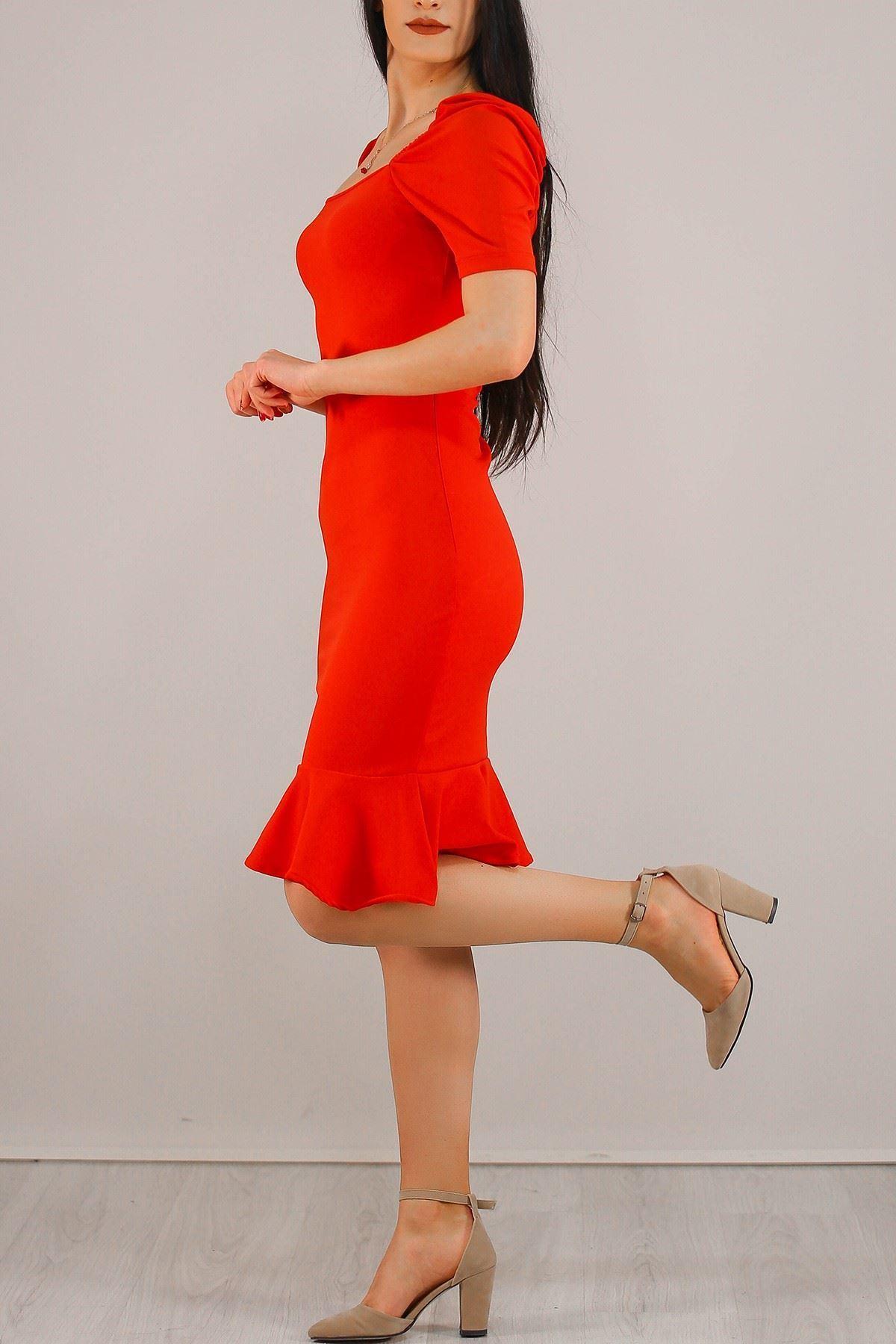 Prenses Kol Kaşkorse Elbise Kırmızı - 5198.994.