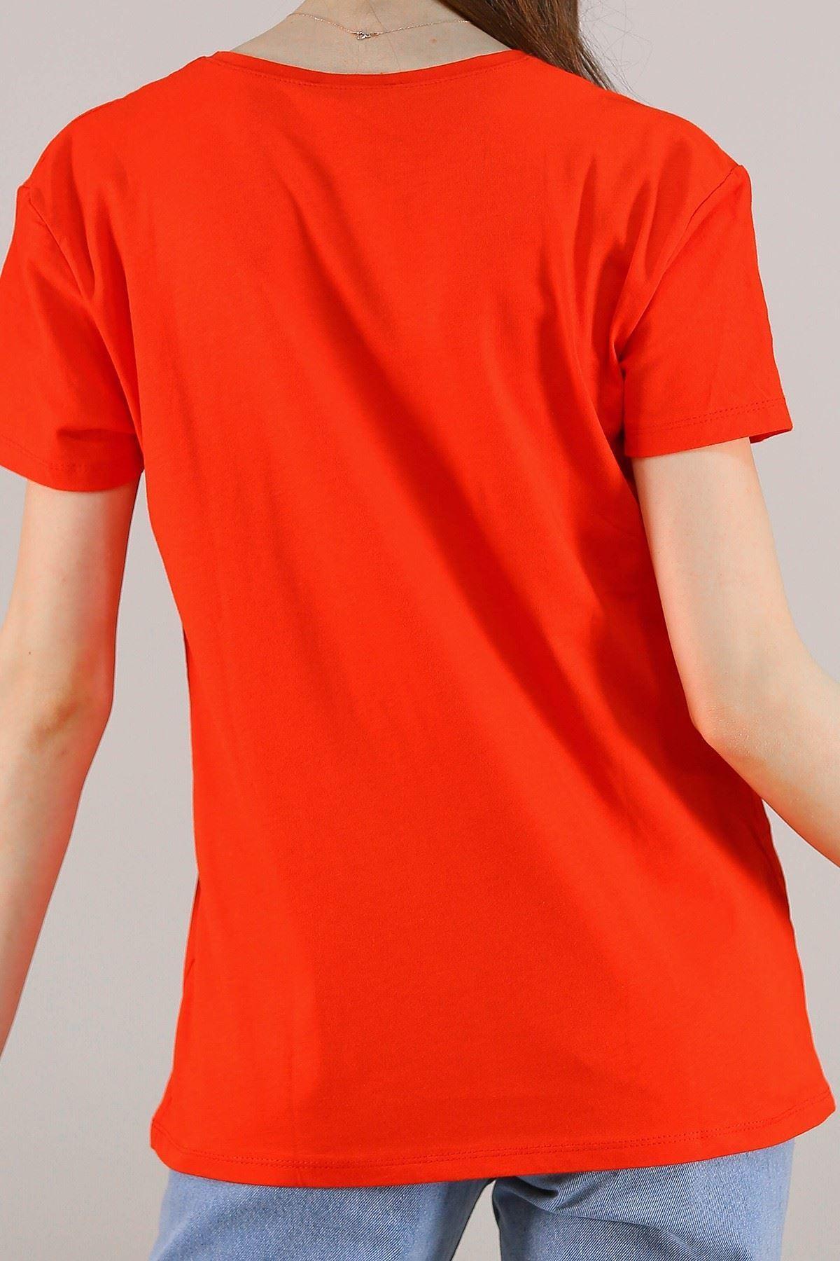 Baskılı Pullu Tişört Kırmızı - 5012.336.