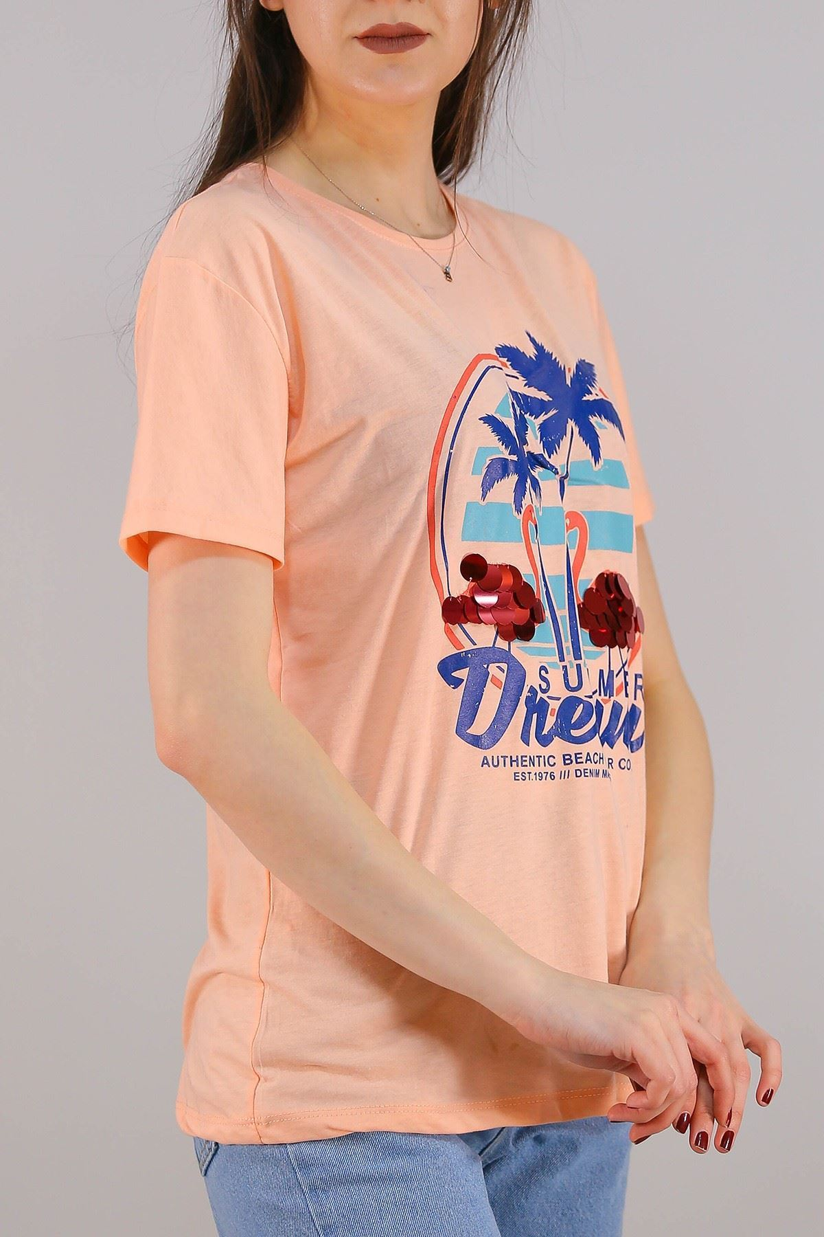 Baskılı Pullu Tişört Somon - 5012.336.