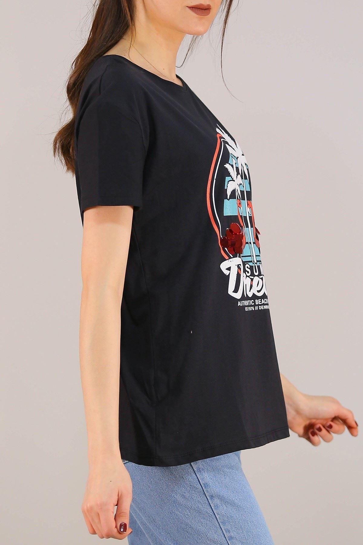 Baskılı Pullu Tişört Siyah - 5012.336.