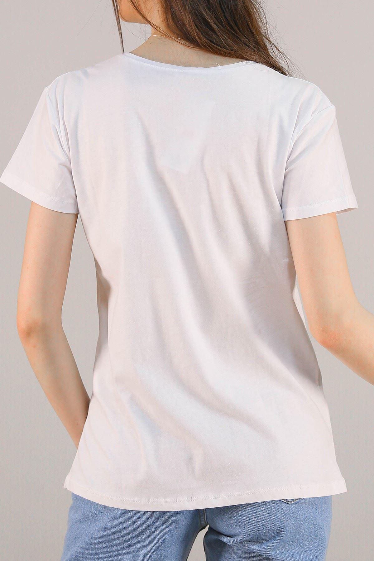 Baskılı Pullu Tişört Beyaz - 5012.336.