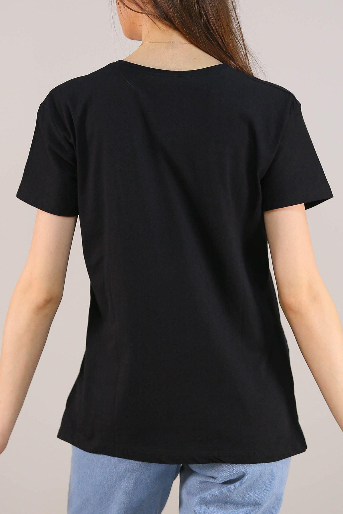 Baskılı Tişört Siyah - 5009.336.