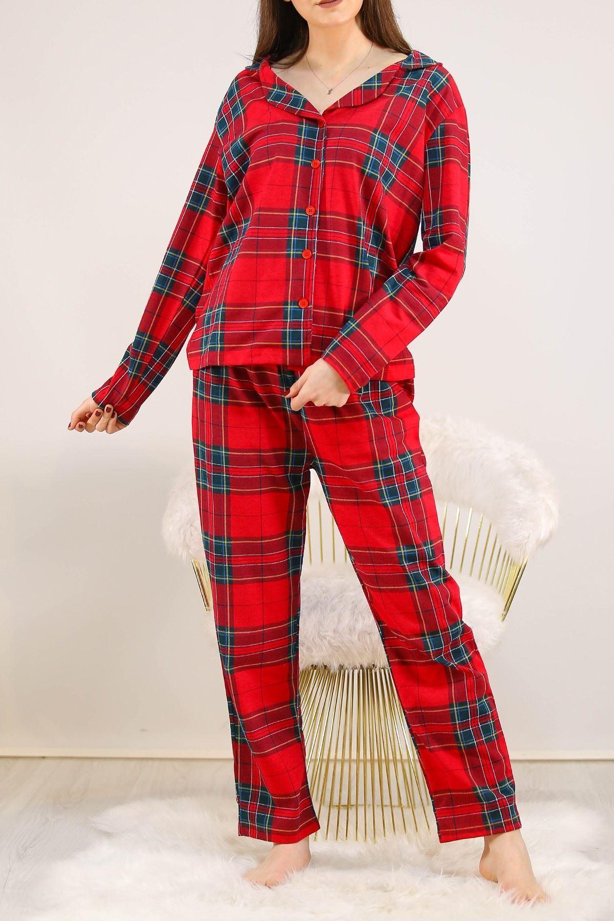 Desenli Pijama Takımı Kırmızı - 2645.994.