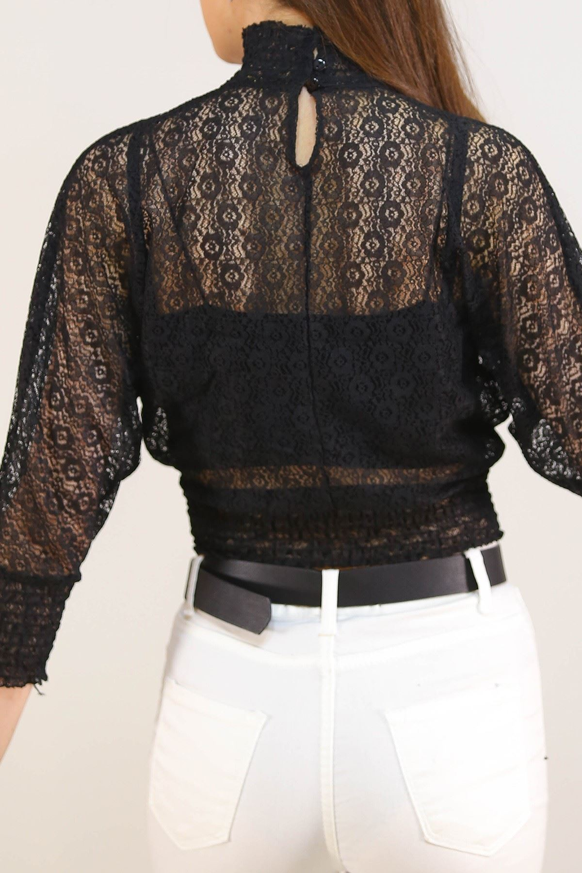 Dantelli Bluz Siyah - 5209.224.