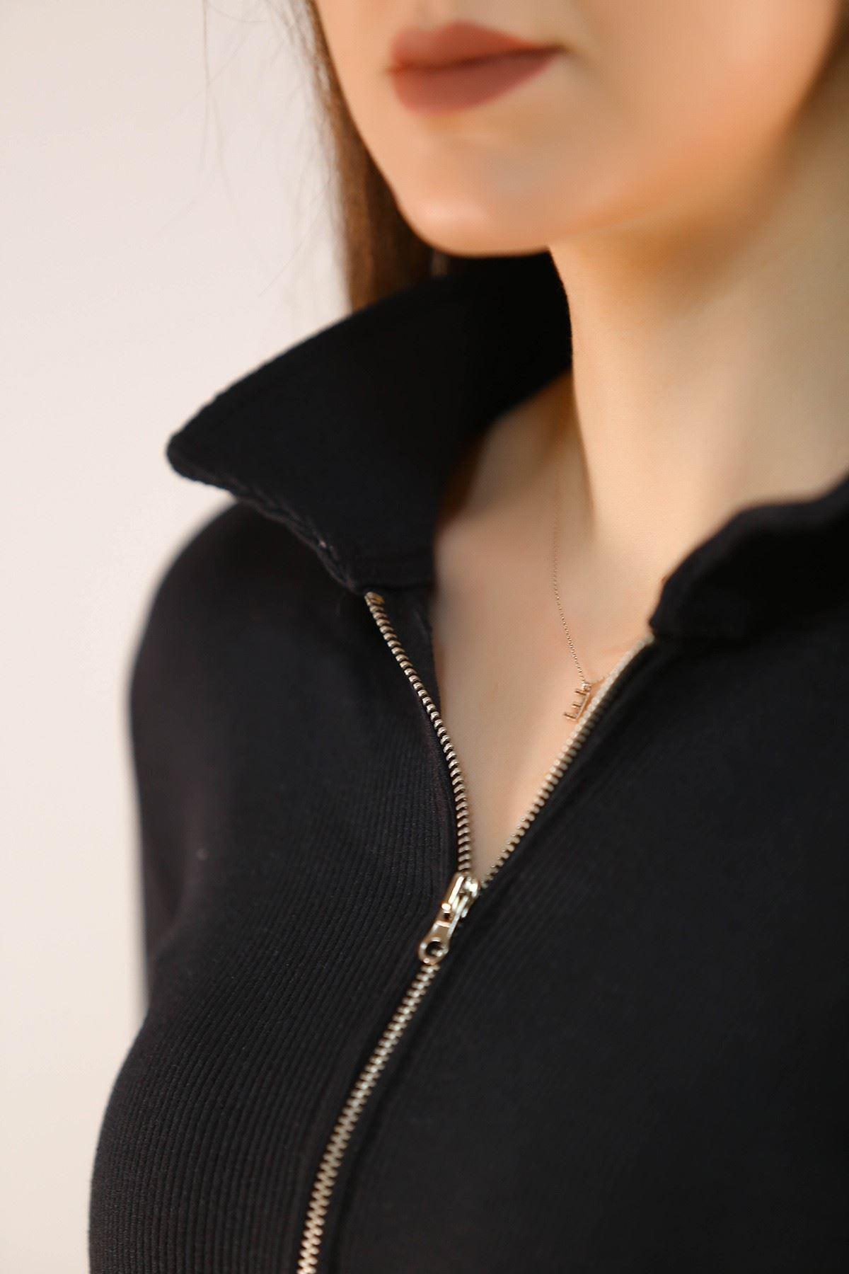 Fermuarlı Bluz Siyah - 5212.1234.