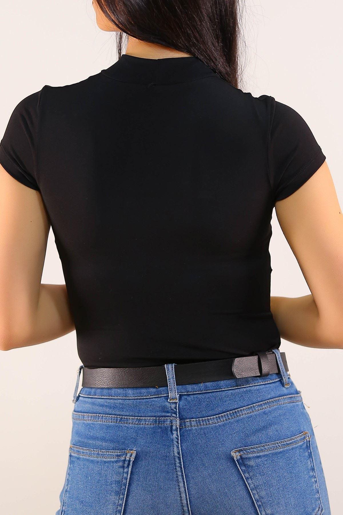 Tül Detaylı Bluz Siyah - 5200.450.