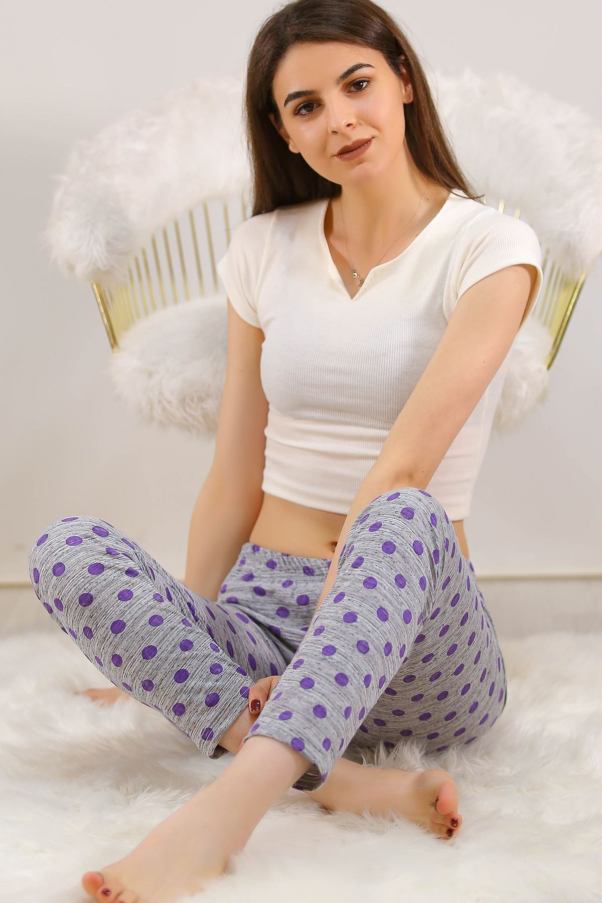 Desenli Pijama Altı Morpuanlı - 5220.1348.