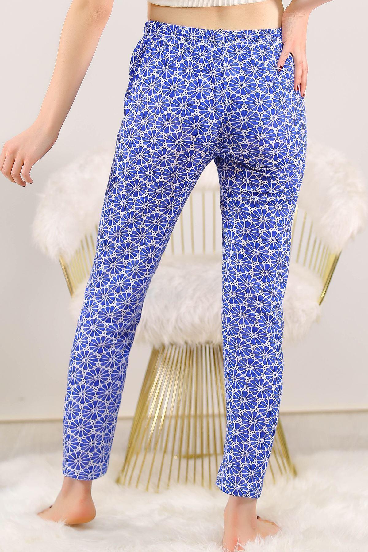 Desenli Pijama Altı Saks - 5220.1348.