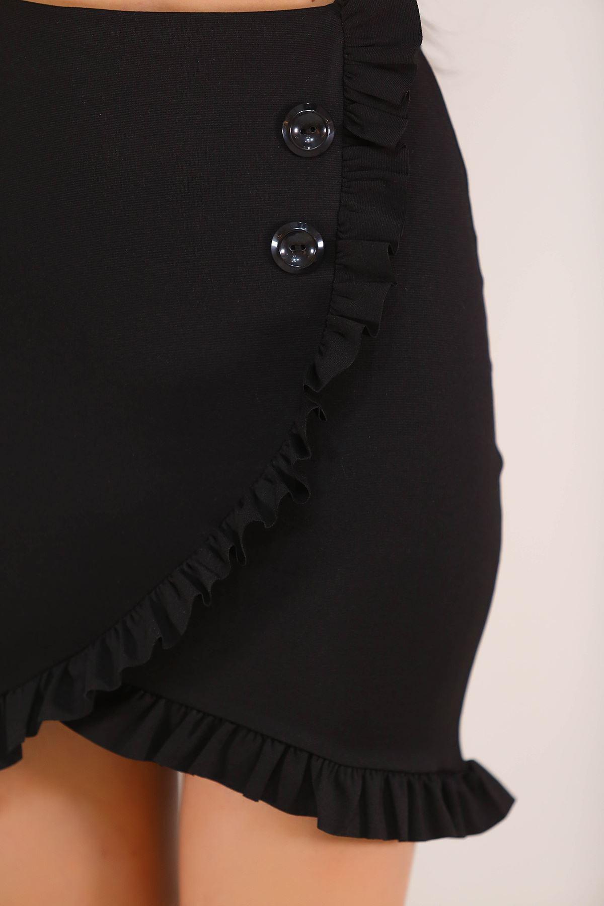 Düğme Detaylı Etek Siyah - 5217.1223.
