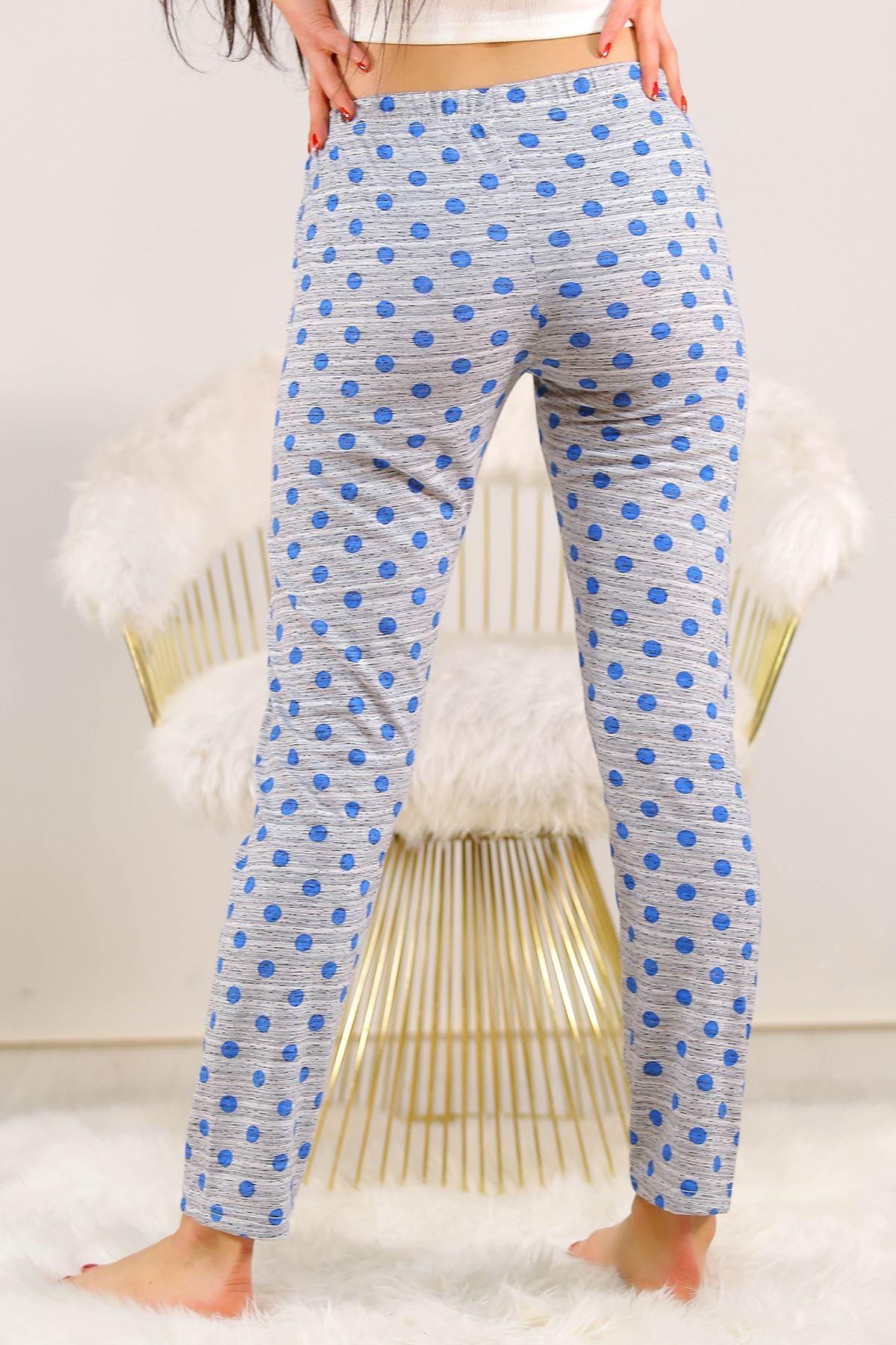 Desenli Pijama Altı Mavipuanlı - 5220.1348.