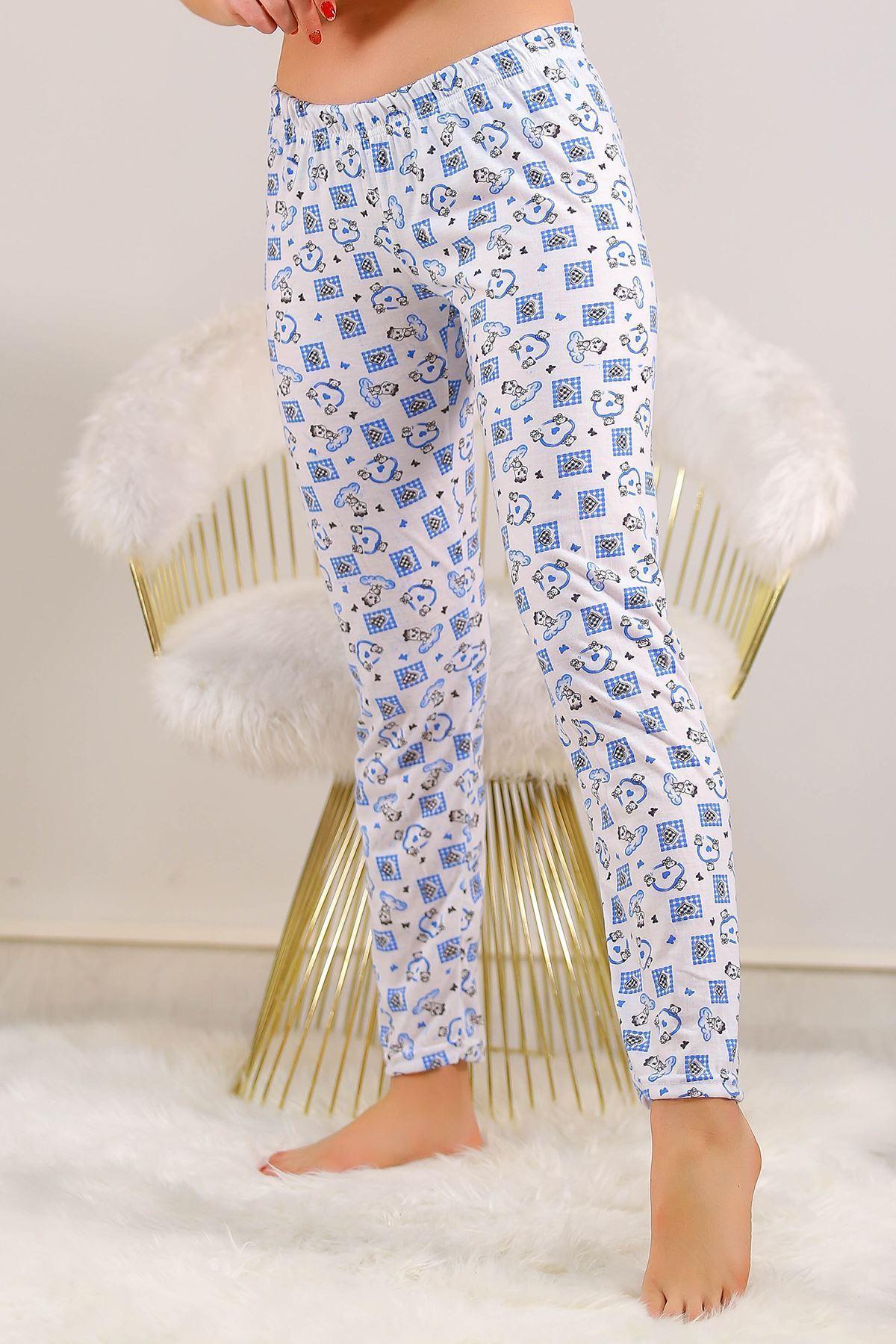 Desenli Pijama Altı Beyazmavi - 5220.1348.