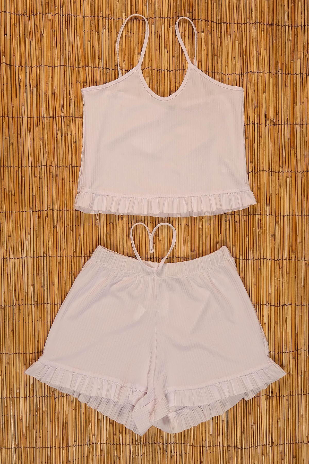 Altı Fırfırlı Şort Takım Beyaz - 19805.200.