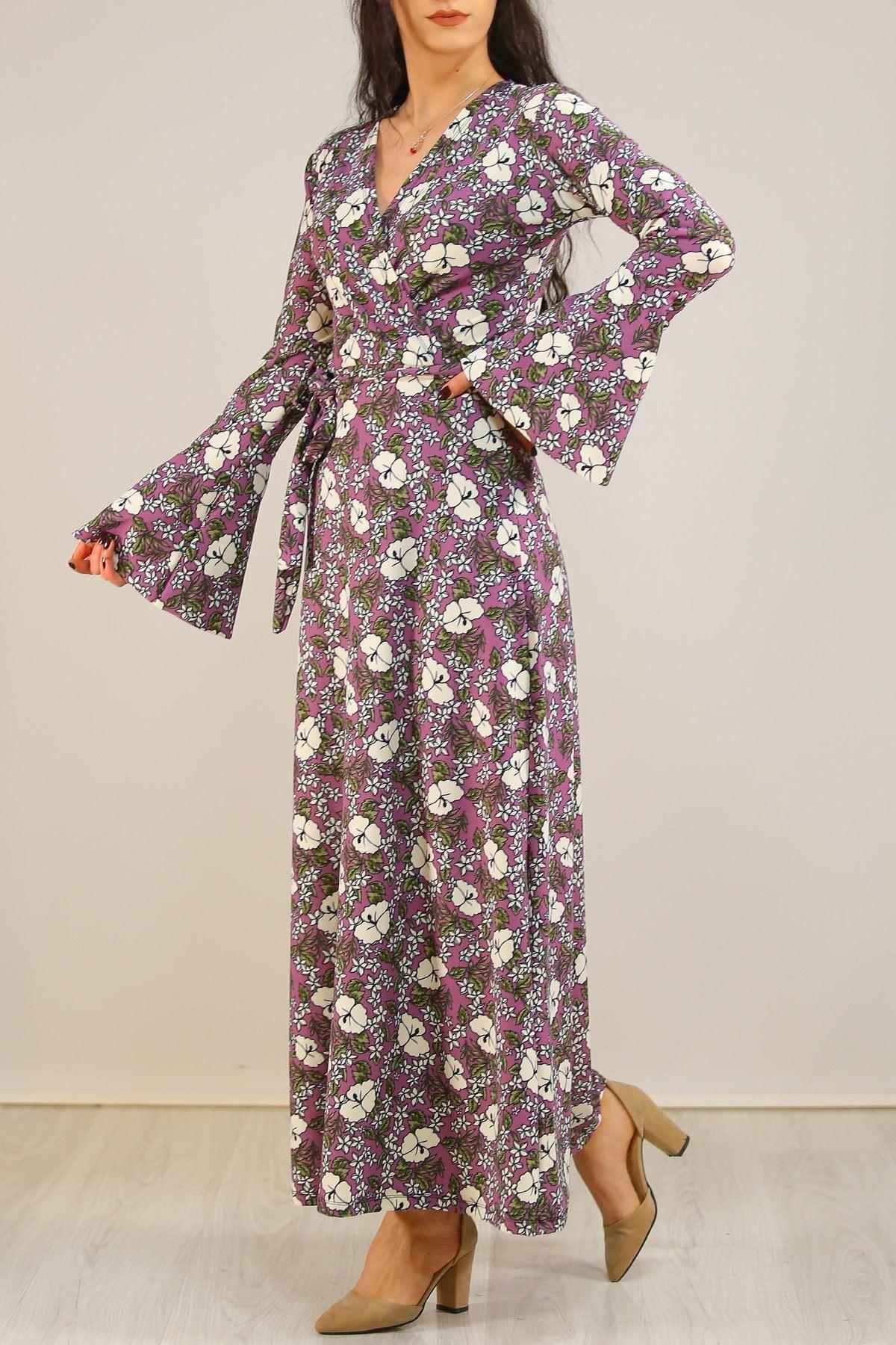 İspanyolkol Desenli Elbise Mor - 5075.716.