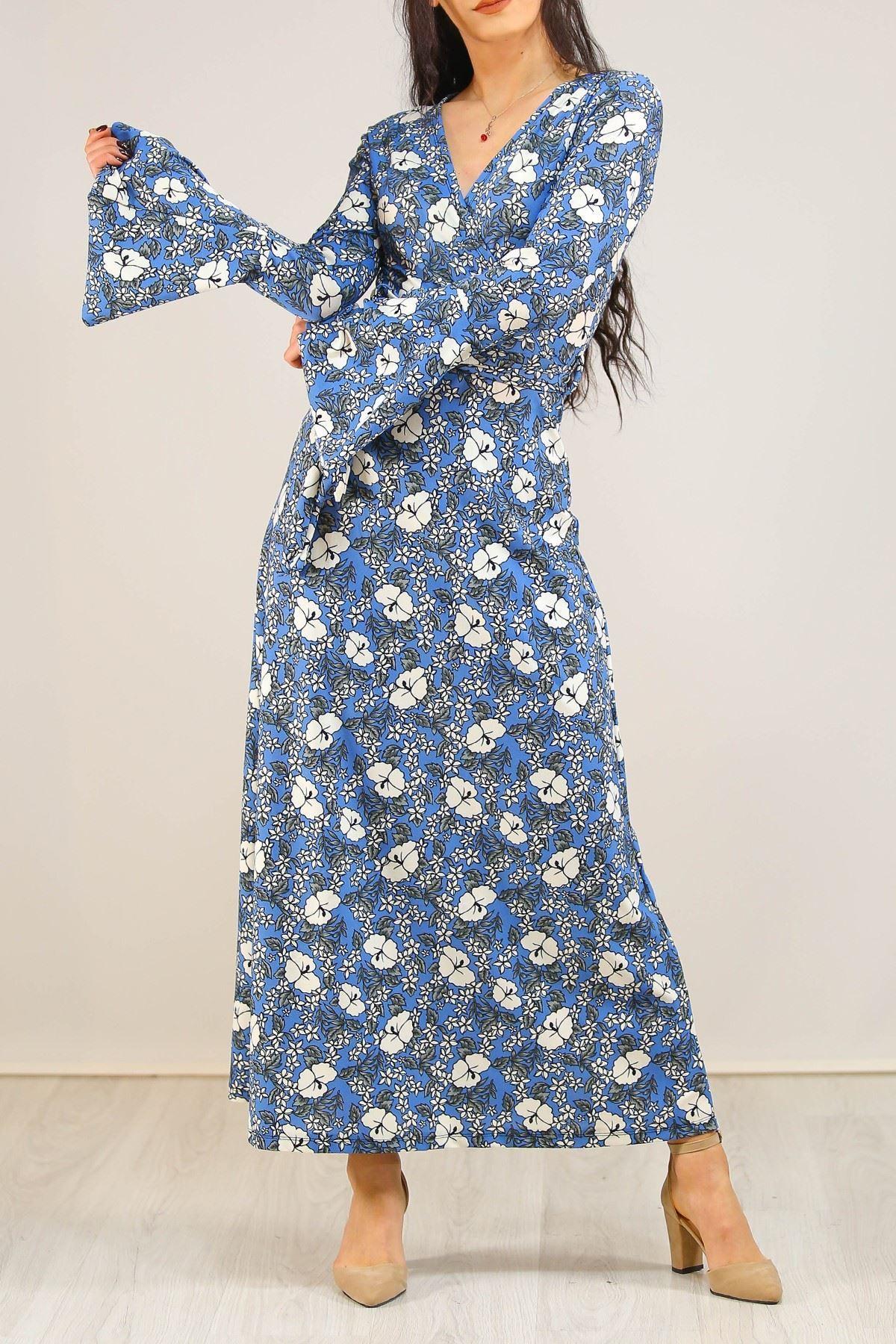 İspanyolkol Desenli Elbise Maviçiçekli - 5075.716.