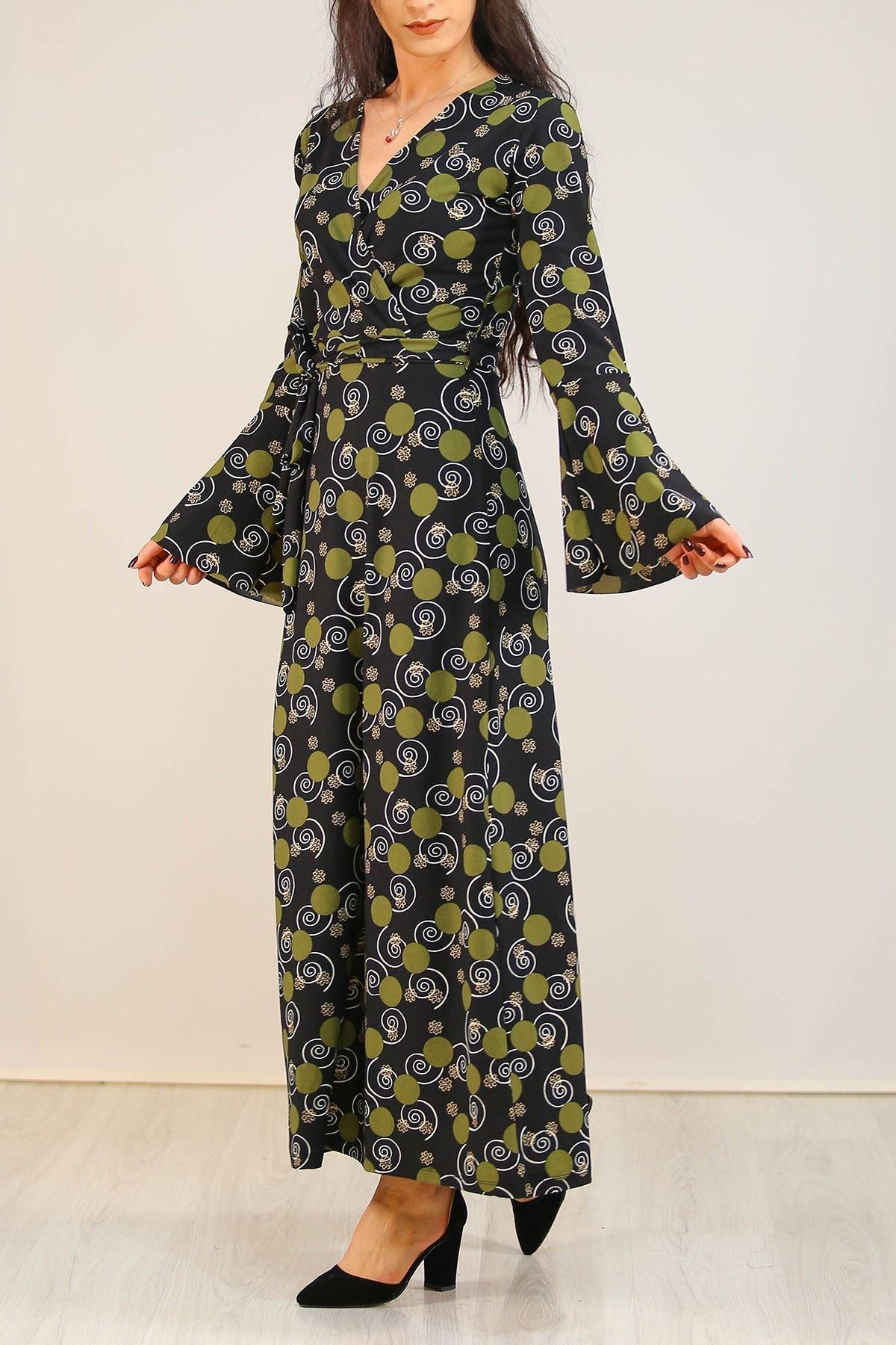 İspanyolkol Desenli Elbise Yeşilpuanlı - 5075.716.