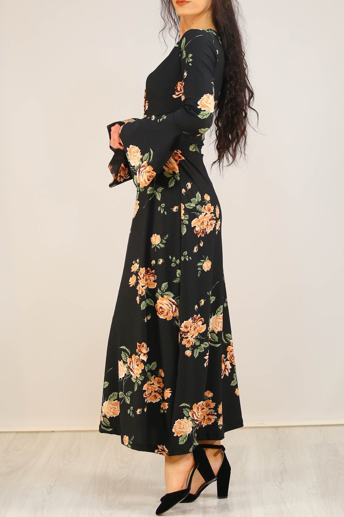 İspanyolkol Desenli Elbise Siyahçiçekli - 5075.716.