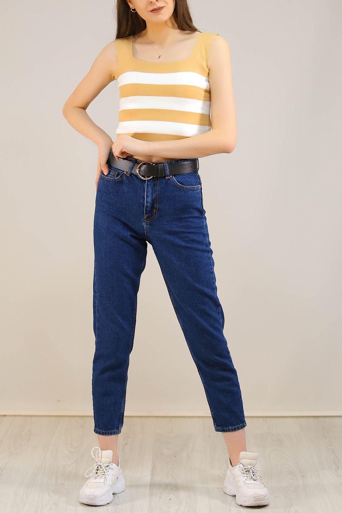 Contalı Mom Jeans Mavi - 2411.392.