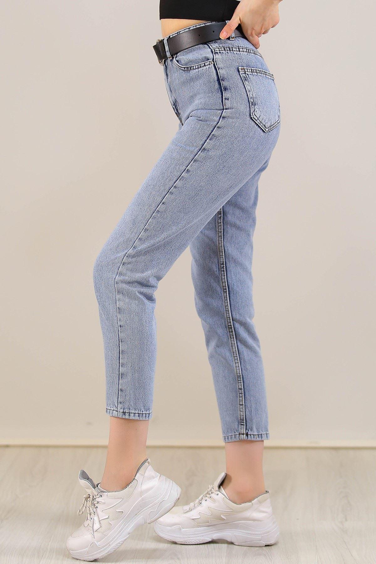 Contalı Mom Jeans Buzmavi - 2411.392.