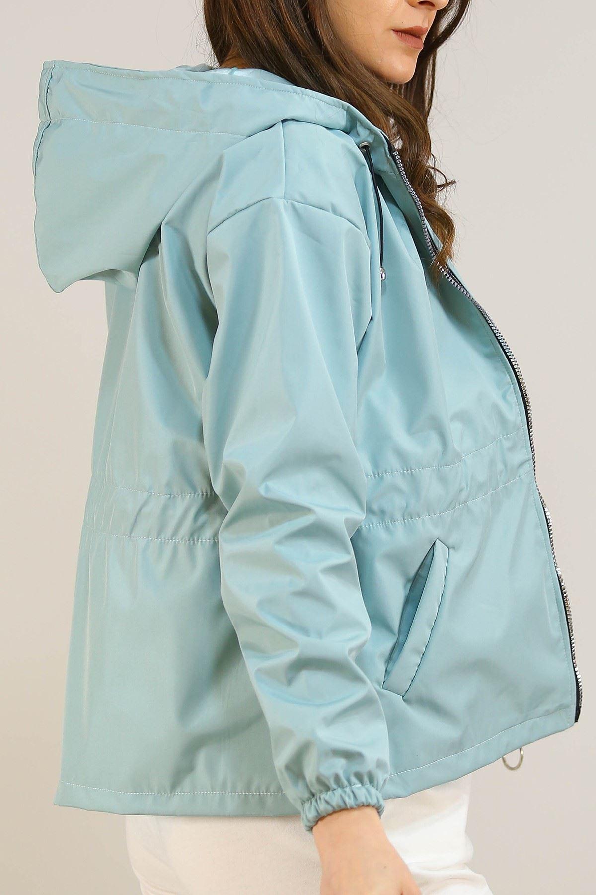 Kapşonlu Fermuarlı Ceket Mint - 5230.240.