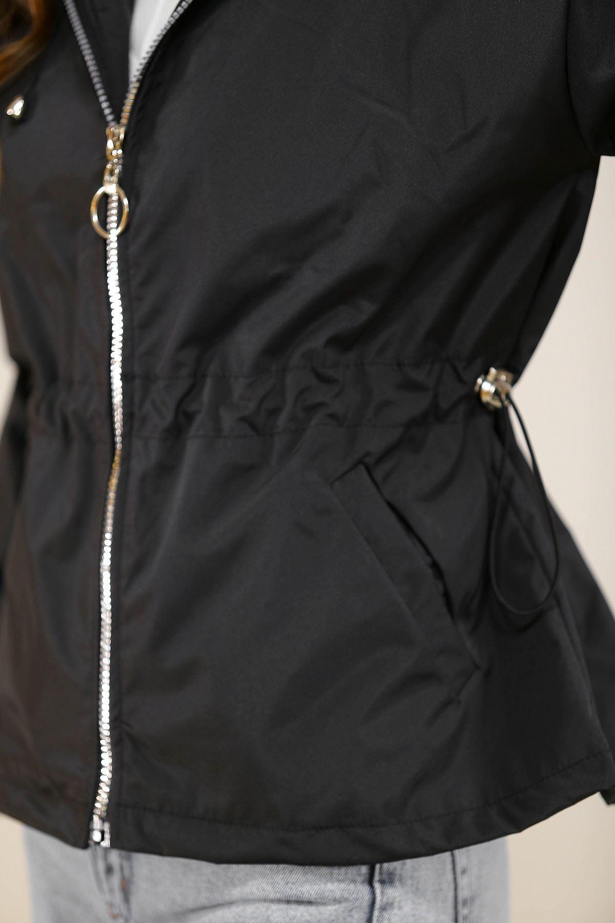 Kapşonlu Fermuarlı Ceket Siyah - 5230.240.