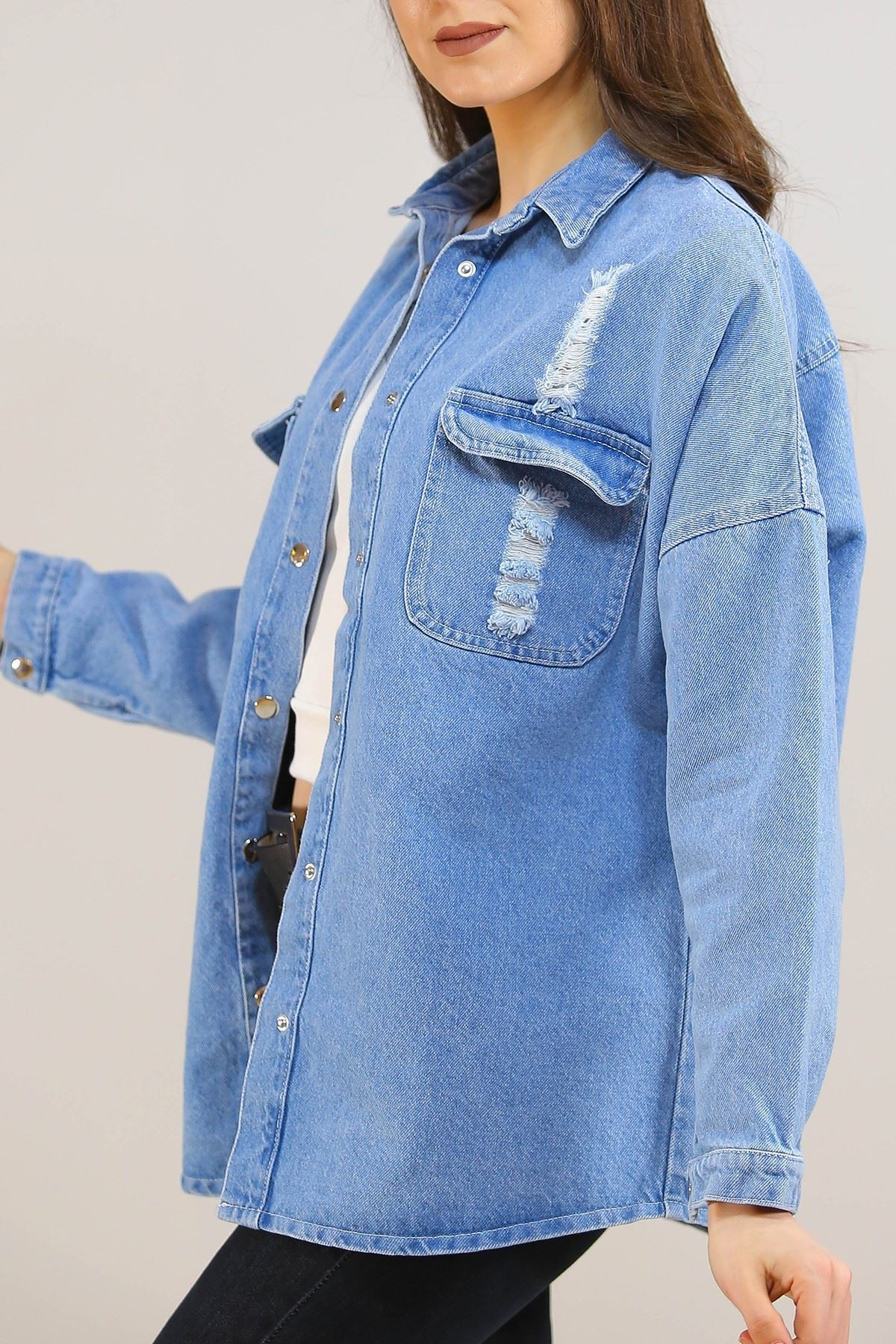 Tırnaklı Kot Ceket Mavi - 5231.240.
