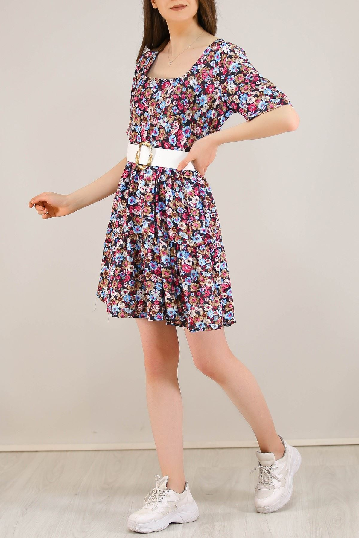 Çerçeve Yaka Kısa Elbise Pembemavi - 5221.701.