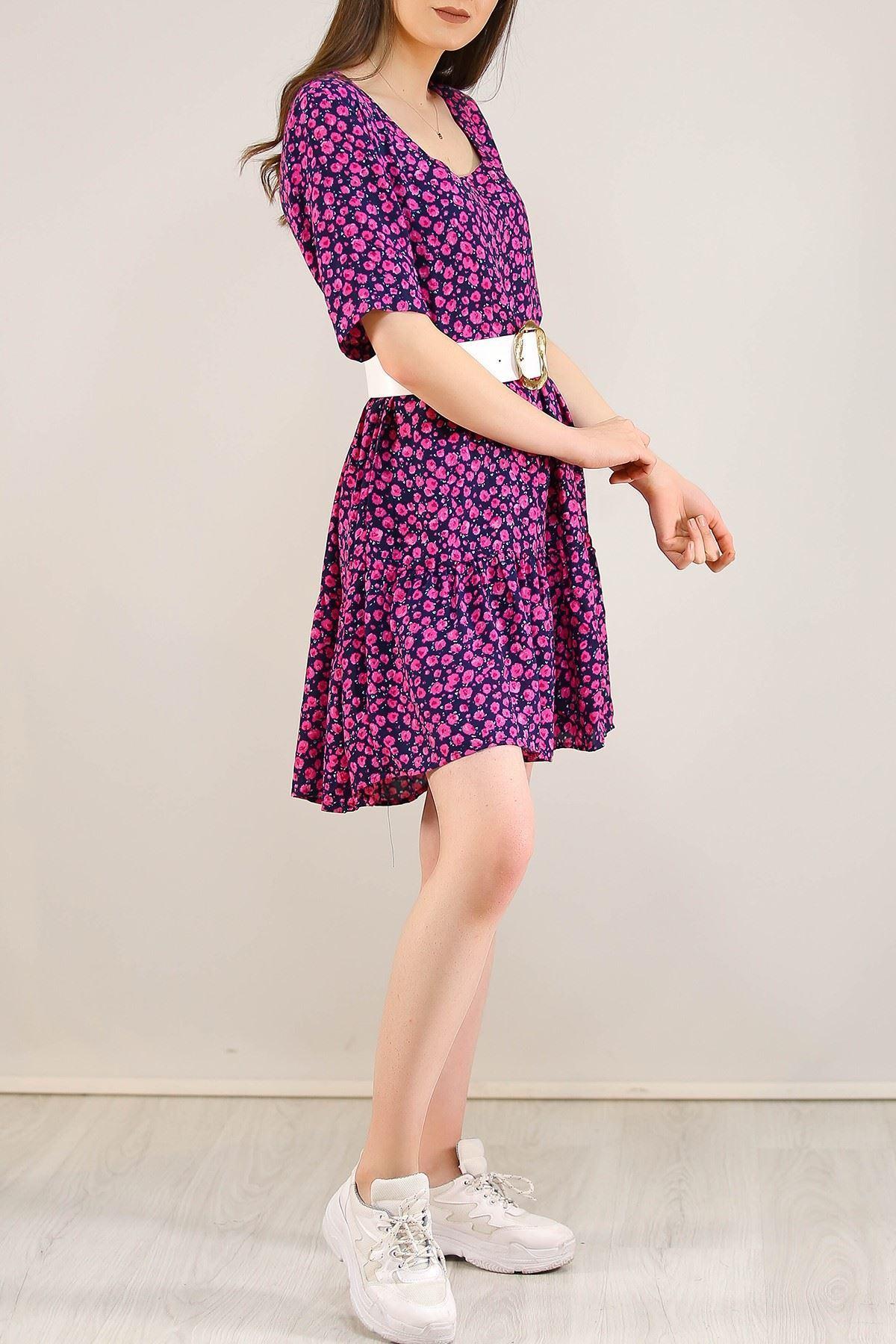 Çerçeve Yaka Kısa Elbise Pembe - 5221.701.
