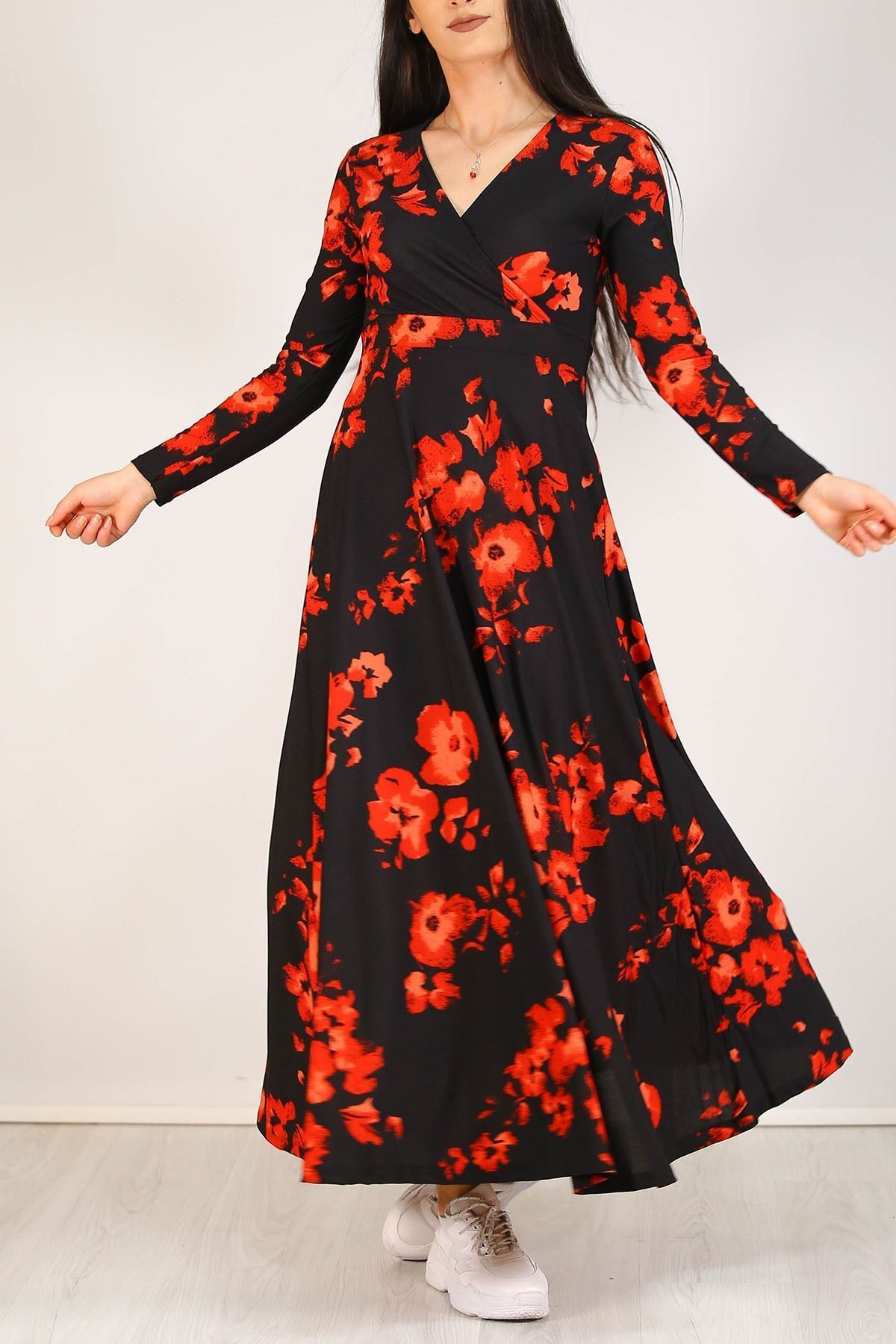 Çiçekli Elbise Siyahkırmızı - 4987.716.