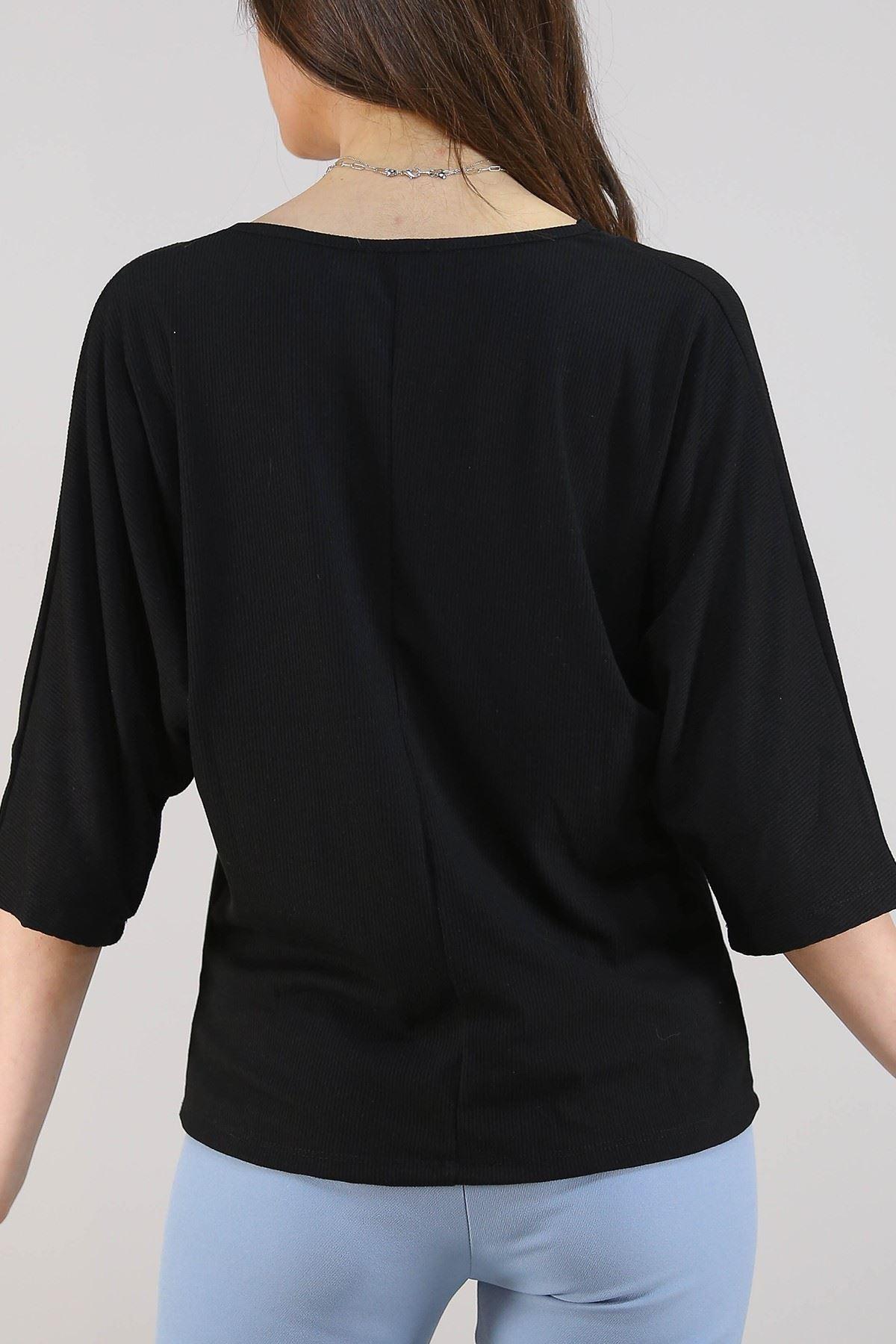 Yaka Dantelli Bluz Siyah - 3331.222.