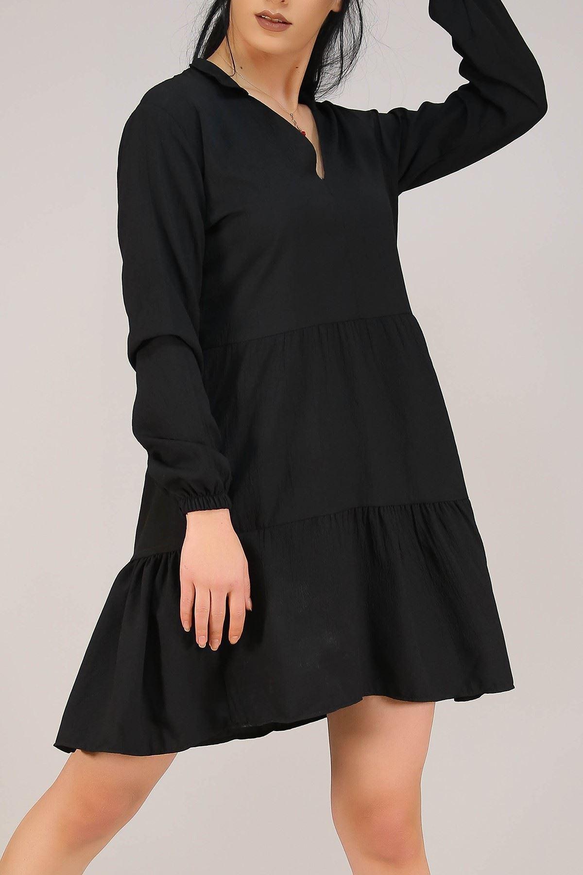 Kısa Krep Elbise Siyah - 5273.701.