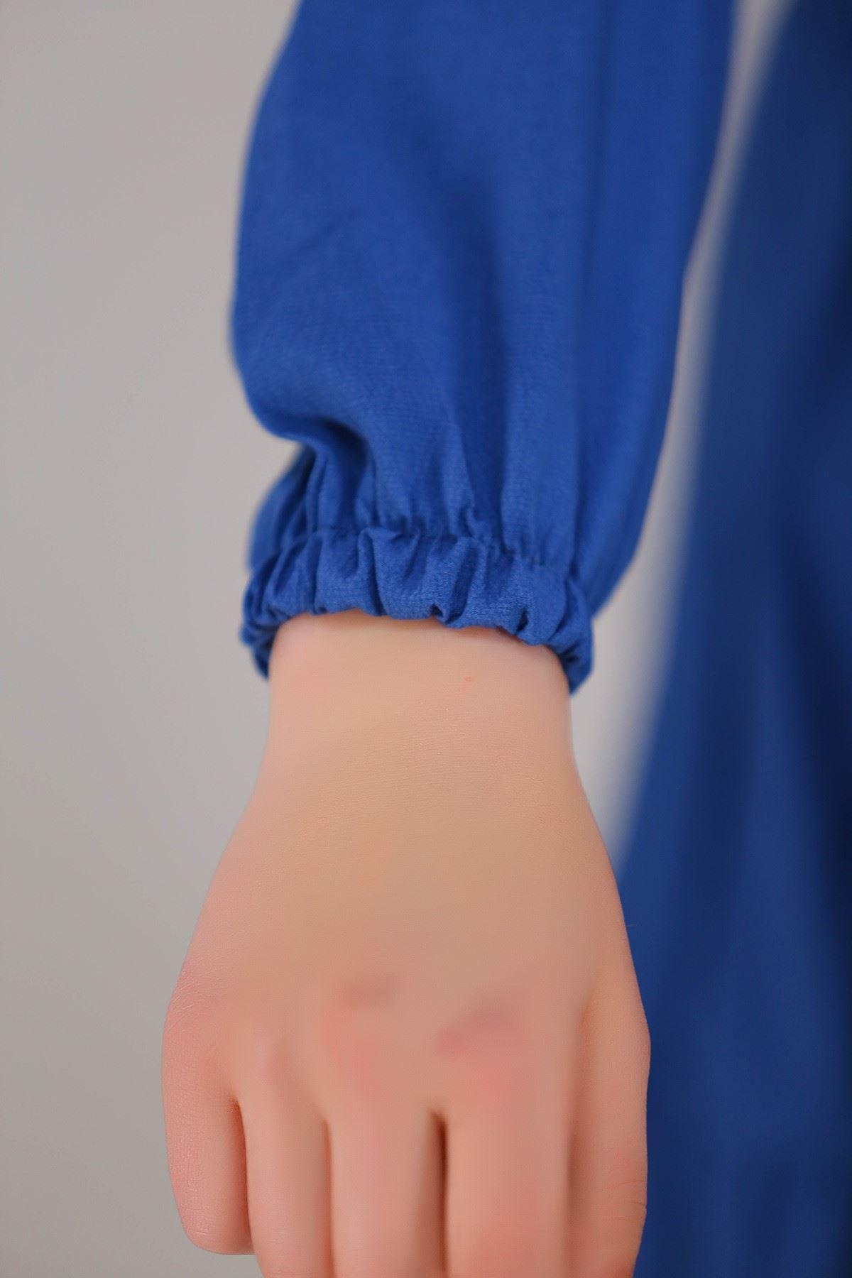 Kısa Krep Elbise Mavi - 5273.701.