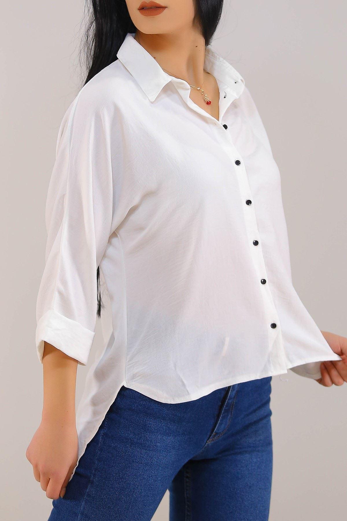 Salaş Kesim Kadın Gömlek Beyaz - 3339.222.