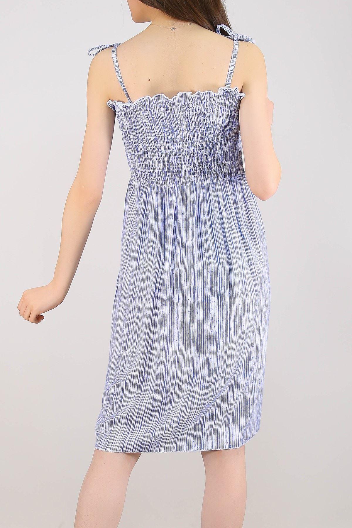 İp Askılı Dokuma Elbise Maviçizgili - 5285.1350.